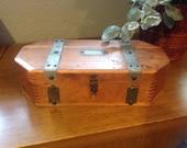Vintage Wood Dovetailed Jewelry Trinket Box McGraw Box Co