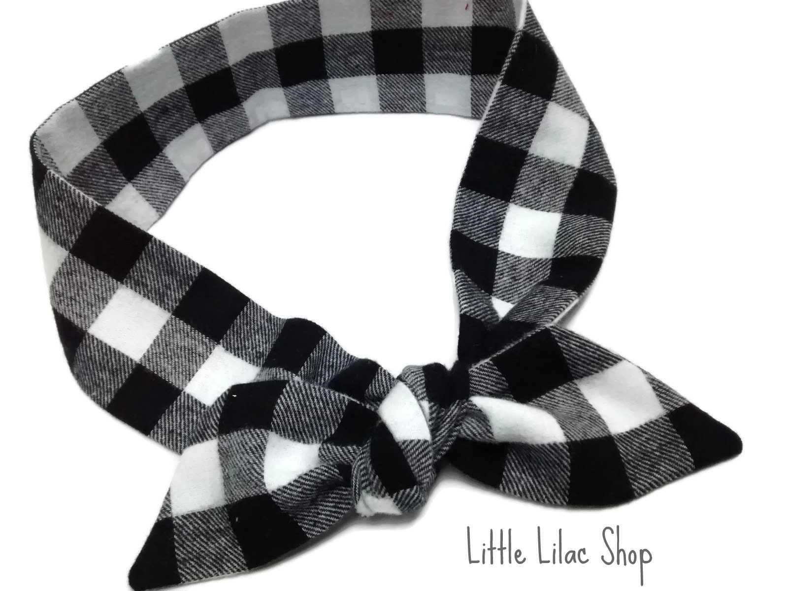 b3d54e0a6b205 Headband for Women, Black and White Check Flannel Headband, Buffalo Plaid  Flannel, Self Tie Headband, Plaid Top Knot, Rockabilly Headband