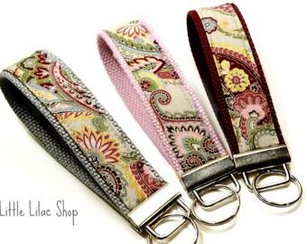 Key Fob Wristlet, Fabric Keychain, Fabric Key Fob, Gray Paisley, Key Holder, Key Chain Wristlet,  Fabric Key Holder, Keychain