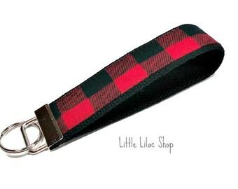 Plaid Key Fob Wristlet, Plaid Keychain,  Fabric Key Fob, Flannel Keychain, Fabric Keychain, Key Chain Wristlet, Red and Black Plaid