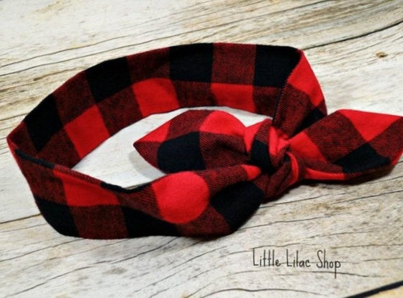 1df5b123f43f8 Top Knot Headband, Buffalo Plaid Headband, Baby Headband, Red and Black  Plaid, Lumberjack Plaid Flannel Headband, Toddler Headband 5