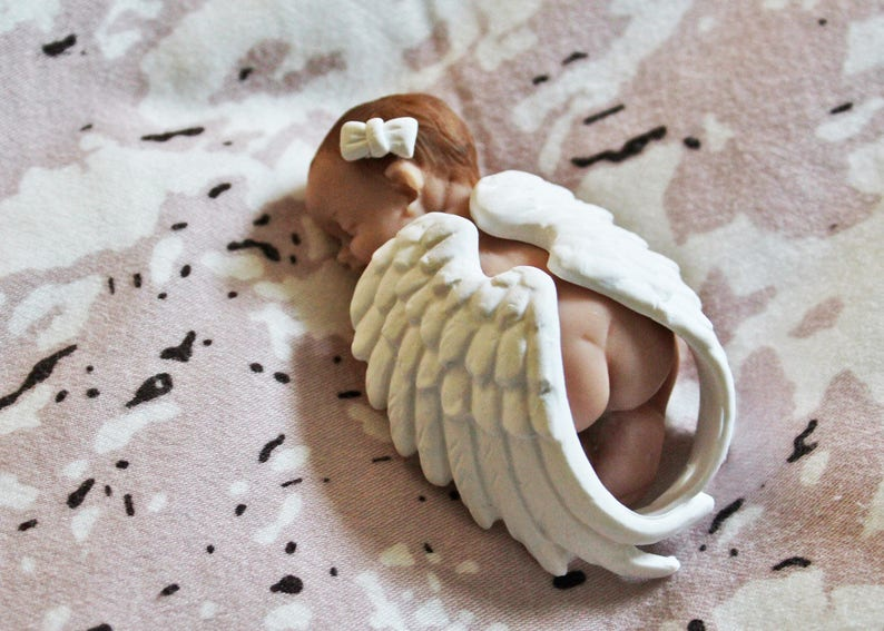 baby/'s room decoration Baby angel birth gift Baby figurine fimo newborn baby shower baby cake topper baptism cake topper