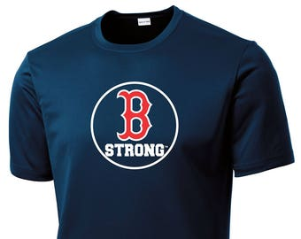 Boston Strong B Strong Boston Marathon Men's Navy Competition T-Shirt Tribute to Fallen & Injured