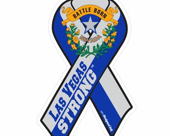 "Las Vegas Strong Commemorative Ribbon Car Window Decal 6.0""high x 3.7""wide"