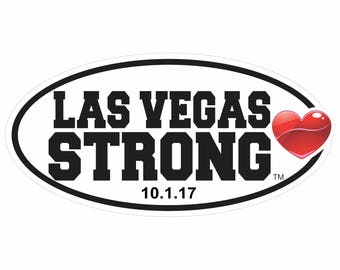 Las Vegas Strong Car or Fridge Magnet available with Optional Date