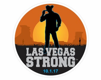 Las Vegas Strong Round Country Western Desert Decal with Optional Date
