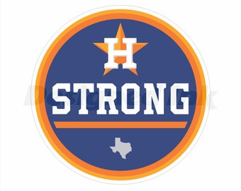 "Houston Strong 4"" Round Magnet For Vehicles Commercial Grade Materials Made in The USA"