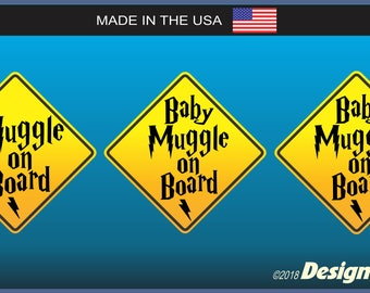 Muggle On Board, Baby Muggle(s) on Board Car or Fridge Magnetic Harry Potter Theme