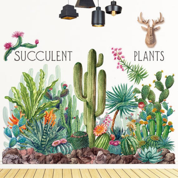 New Friendly Succulent Cactus Cacti Design Wall Stickers Decal Mural Home Decor