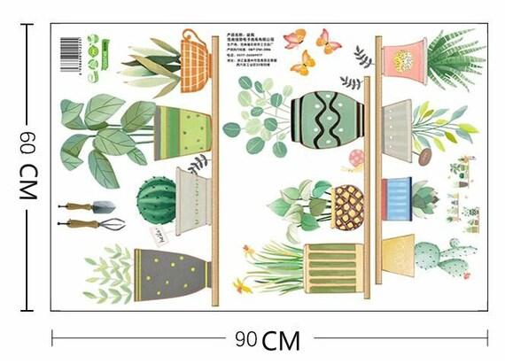 Zielonych Roślin Naklejki ścienne Doniczki Naklejki ścienne Dekoracje ścienne Dla Dzieci Kreatywne Mural Roślin Zielony Wystrój Kochanka
