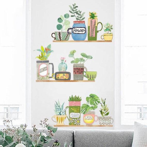 Doniczki Naklejki ścienne Ogrodowe Nalepki ścienne Dekoracje ścienne Dla Dzieci Kreatywne Murale Zielony Wystrój Symulacja Naklejki Na ścianie
