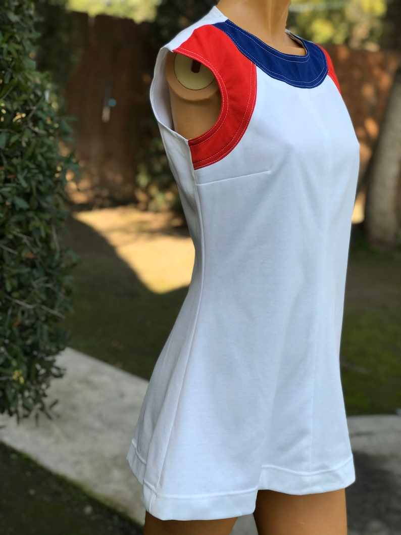 Vintage 1970s New Old Stock w Hangtags White Polyester Tennis Dress.Made by Chris Evert Red White and Blue Colors Size 12