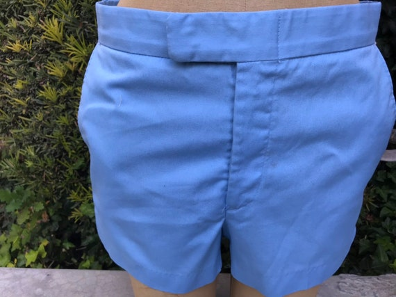 Vintage 1970s Mens Tennis Shorts. Baby Blue Color