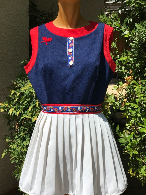 Vintage 1970s Navy Blue Tennis Dress with tennis t