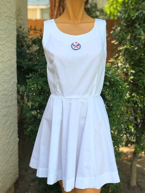 Vintage 1950 White Cotton Tennis Dress w Tennis Ra