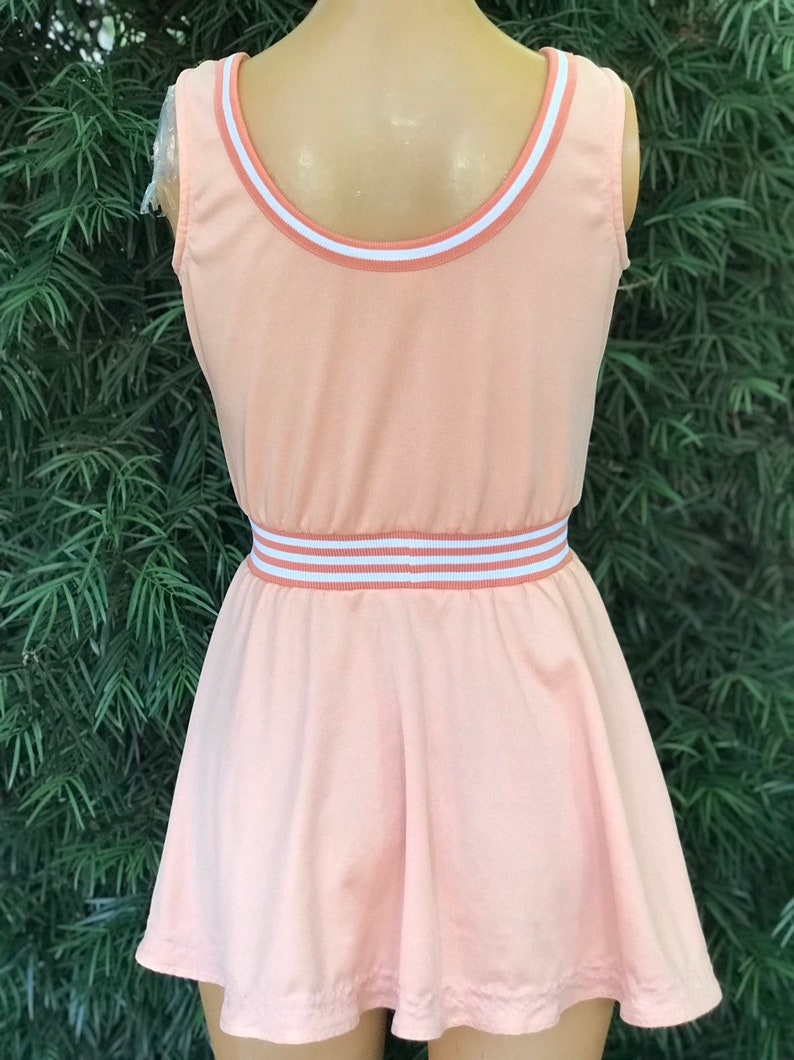 Vintage 1970s Peach Polyester Tennis Dress w Striped Waistband and Trim Made by Loomtogs
