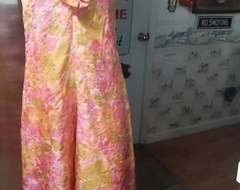 Vintage 1960s Psychedelic Colored One Piece Ruffled Crepe Fabric Jumpsuit