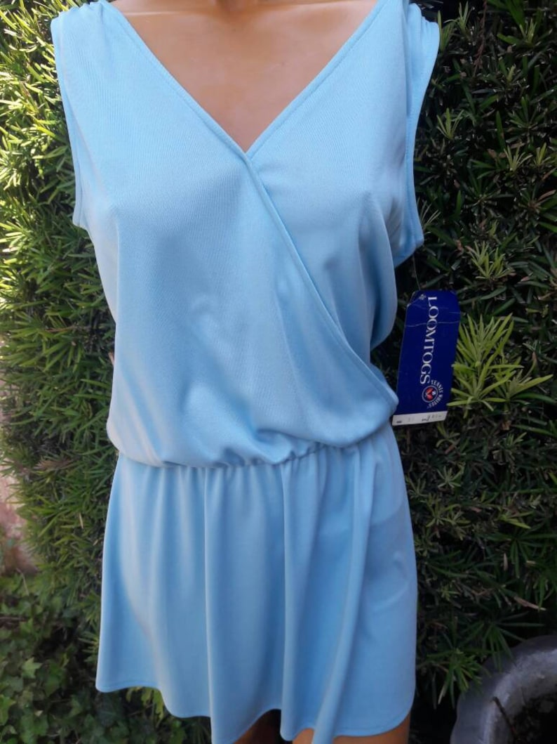 Vintage 1970s New Old Stock w Tags Robbins Egg Blue Color Loomtogs Brand Polyester Tennis Dress Size 16