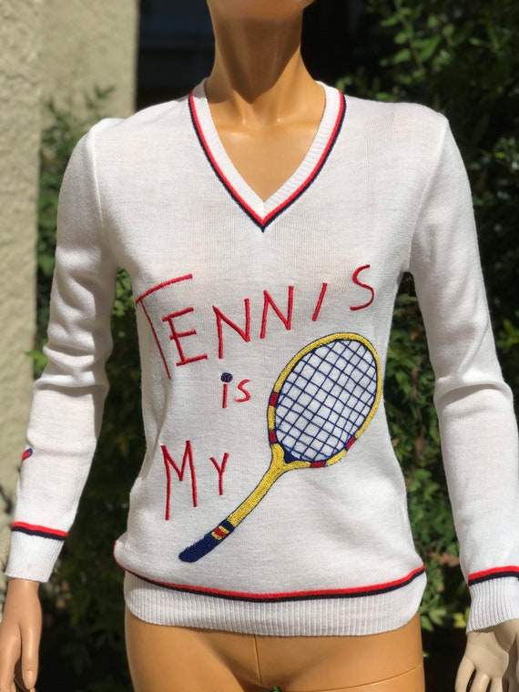 Vintage 1970s White Tennis Sweater Big Tennis Racq