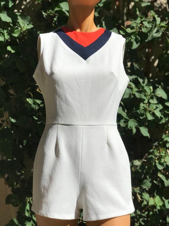 Vintage 1970s Head Brand Tennis Romper Navy Blue a