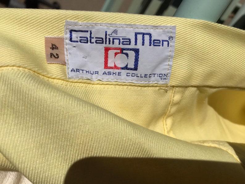 Vintage 1970s Yellow Catalina Men Tennis Shorts Arthur Ashe Collection Size 42