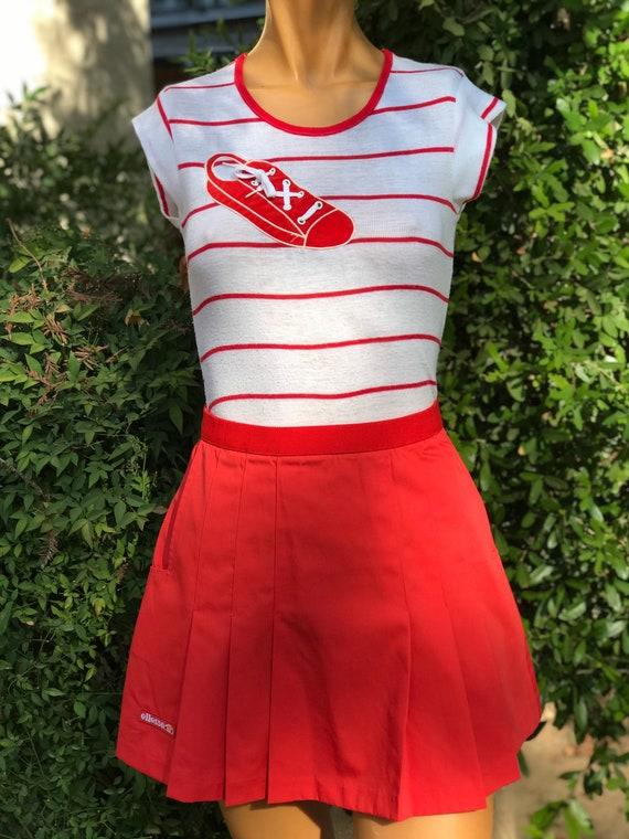 Vintage Ellesse Red Skirt w Tennis Shoe Top Tennis