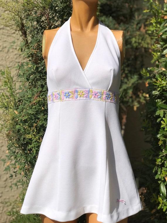 Vintage 1970s Polyester Halter Tennis Dress Made by Slazenger Pretty Pink Flower Trim