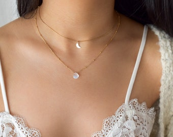 Moonstone Necklace - Moonstone Necklace Gold, Dainty Necklaces, Simple Gold Necklaces, Moonstone Jewelry, Moonstone Pendant   GFN00048
