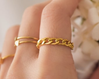 Gold Chain Ring - Chain Ring, Gold ring, simple ring, daily ring, dainty ring, dainty gold ring, simple gold ring |GPR00000