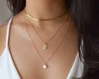Pearl Drop Necklace - Single Pearl Necklace, Simple Pearl Necklace, Keshi Pearl, Freshwater Pearl Necklace, gold pearl necklace |GFN00051