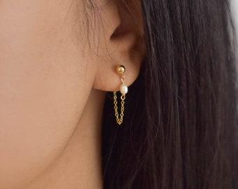Pearl Chain Ear Jackets - Chain Earrings, Front Back Earrings, gold filled earrings, gold filled chain earrings, dainty earrings