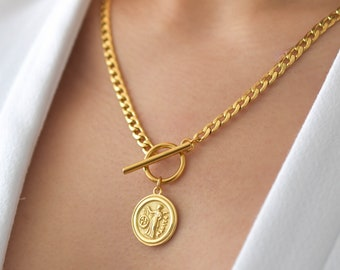 Toggle Coin Necklace - Greek Coin Necklace, Gold Coin Necklace, Toggle Necklace, Gold Toggle Necklace, Gold Coin Necklace  |GPN00029