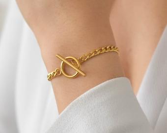 Toggle Bracelet - Gold Toggle Bracelet, Chain Bracelet, simple gold bracelet, Gold Chain Bracelet, Gold Chain Link Bracelet |GPB00002