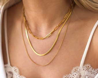 Gold Chain Set - Chain Necklace Set, Layering necklaces set, simple chains set, chain necklaces, snake chain, paperclip chain