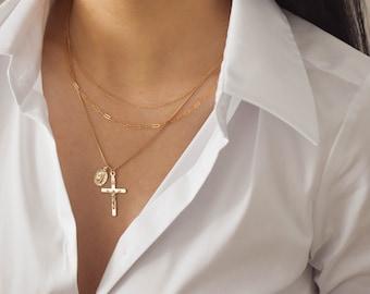 Custom Crucifix Necklace - Gold Crucifix Necklace, Crucifix Pendant, Cross Necklace, Cross Pendant, Gold filled Cross Necklace |GFN00022