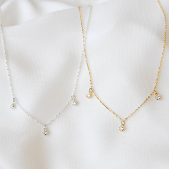 CZ Choker Necklace-Sterling Silver CZ Choker-Gold Filled CZ Choker-Cubic Zirconia Diamond Necklace-Layering Necklace-Dainty Choker Necklace