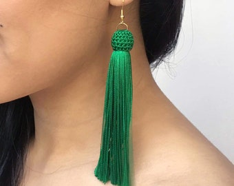 Green Tassel Earrings, Large Tassel Earrings, Long Tassel Earrings, Big Green Earrings, Green Statement Earrings