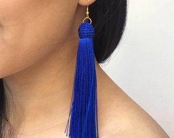 Blue Tassel Earrings, Large Tassel Earrings, Long Tassel Earrings, Big Blue Earrings, Blue Statement Earrings