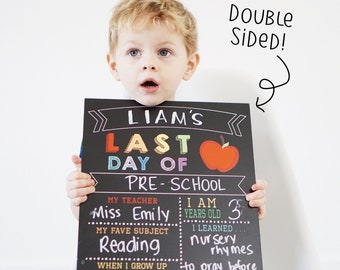 Reusable 2-in-1 First & Last Day of School Sign, first day of school sign, back to school, last day of school sign, first day sign