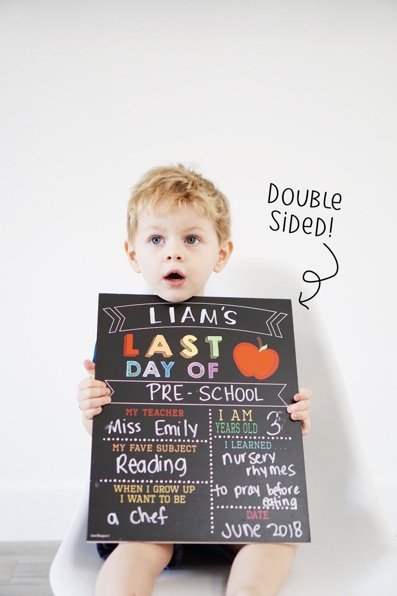 Reusable 2-in-1 First & Last Day of School Sign first day of image 0