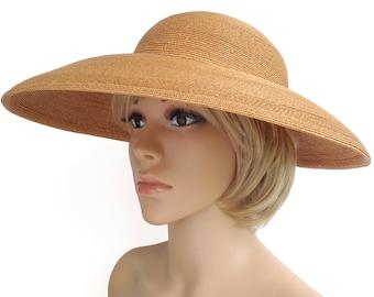 38d57954 Vintage 1940s 1950s Wide Brim Woven Straw Cartwheel Sun Hat