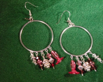 Hoop Silver Earrings with Charms