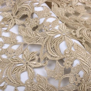 nude pink elegant fine floral lace fabric,champagne venice lace fabric champagne guipure lace fabric