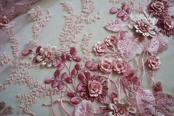 heavy embroidered lace applique peach pink heavy bead lace applique 3D lace applique with beads 3d flower applique for haute couture