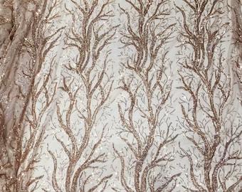 A piece gold sequins tree lace appliques 28cm*125cm ivory sequined lace fabric lace applique fashion accessories, back embellishment