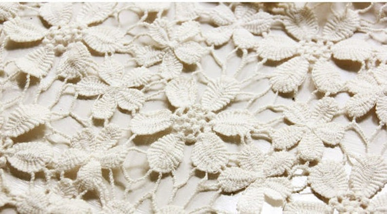 cream lace fabric with daisy flowers ivory cotton lace fabric crochet hollow out vintage lace fabric