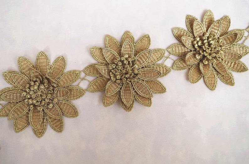 dc33149ce7620 gold flower lace, metallic gold 3D flower lace trim, golden 3D venise lace  trimming 1 yard