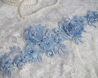 one piece 3D lace applique, 3D flowers lace applique for bride wedding dress beige ivory pink blue puple availble