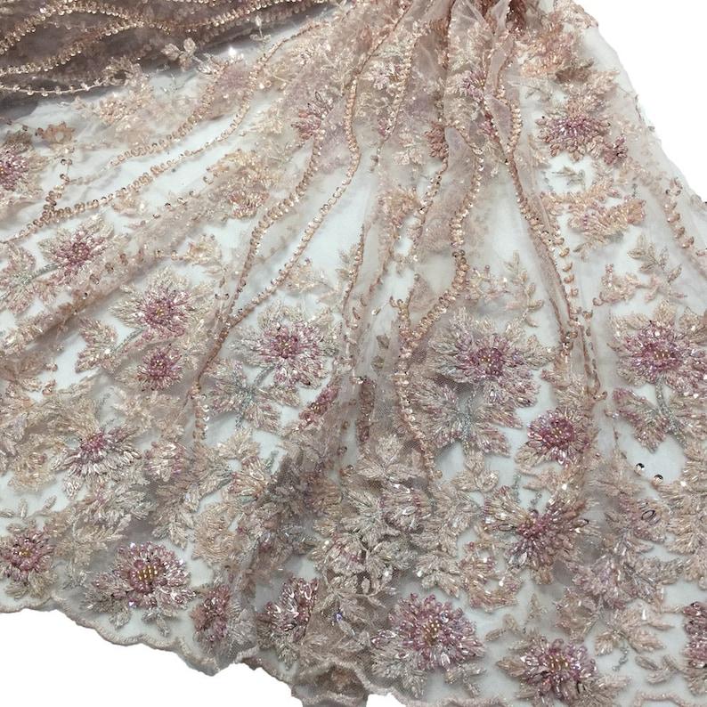 d0085f5a8428 Pesanti in rilievo rosa tessuto pizzo da sposa in pizzo