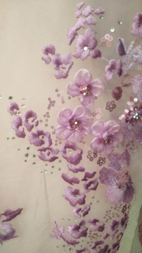 tissu clair, dentelle perlée 3D violet clair, tissu violet mariage mariée brodé dentelle fleurs 3D fournitures de couture 5046c6